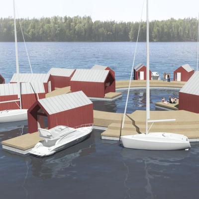 Skiss över flera hus byggda på en flytande brygga.