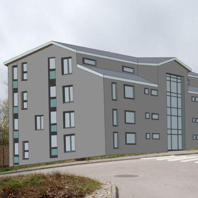 Planerat höghus i Hangö.