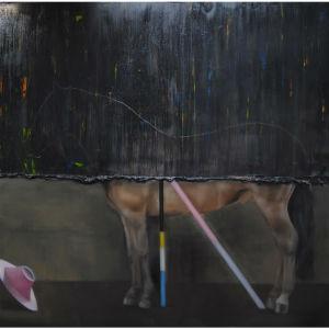 en målning av en halvt synlig häst och en rosa hatt
