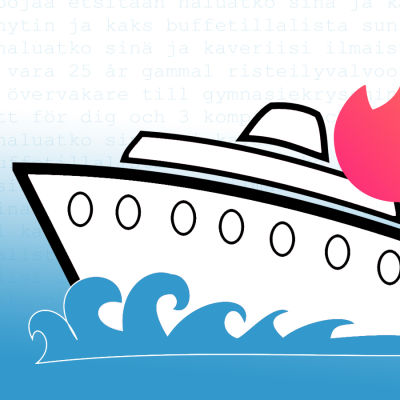 Illustration av fartyg med Tinderlogo.