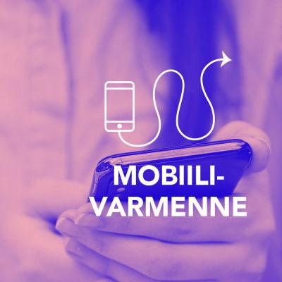 Digitreenit-artikkelin pääkuva. Taustakuvassa kännykkä ihmisen kädessä. Kuvassa tekstit Mobiilivarmenne, Digitreenit ja yle.fi/oppiminen.