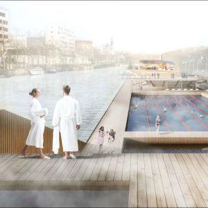 Arkitekternas vision på hur det nya utebadet vid Aura å ska se ut.
