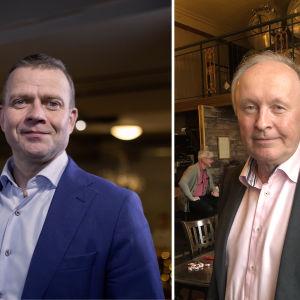 Kollage med bild på Petteri Orpo från Samlingspartiet och Aki Lindén från SDP.