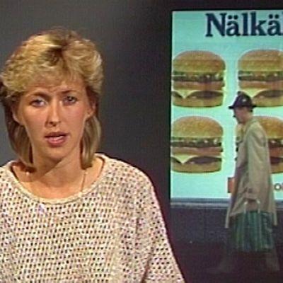 Uutisissa päivitellään hampurilaisketjujen laajentumista Suomessa 1984.