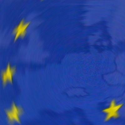 EU.n lipun tähtiä, taustalla kartta