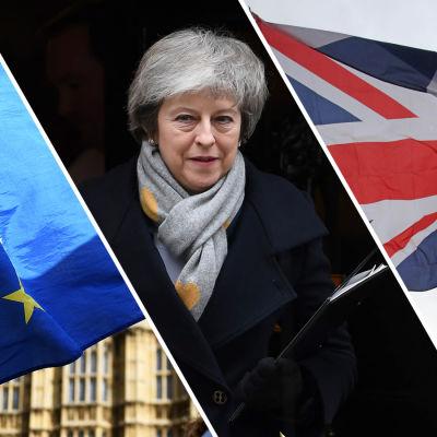 EUs flagga, Theresa May och Storbritanniens flagga.