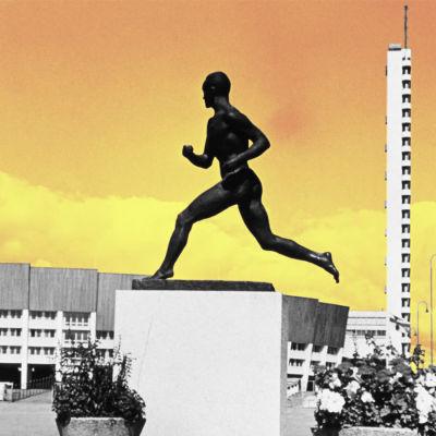 Olympiastadion och Paavo Nurmi statyn.