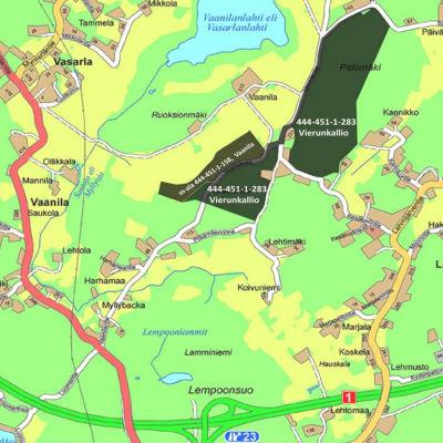 En karta över en del av Lojo där två områden är markerade.