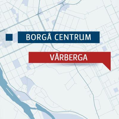 Karta över Vårberga och Borgå centrum