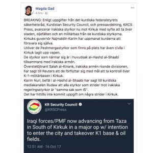 Skärmdump från Magda Gads Facebooksida, den 16.10.2017.