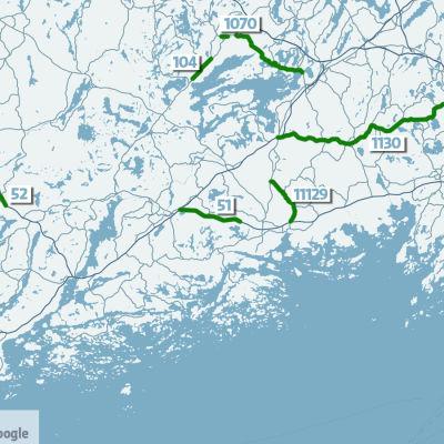 Karta som visar de vägar som kommer att förbättras under år 2020 i Västnyland.
