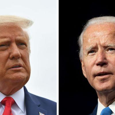 Ett collage på Donald Trump (till vänster) och Joe Biden (till höger).