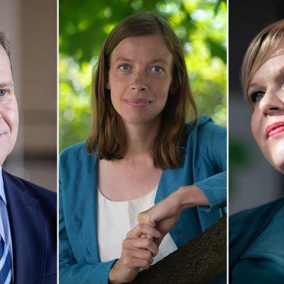 Petteri Orpo (kok.), Li Andersson (vas.) ja Annika Saarikko (kesk.)