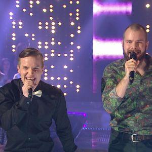 Valtteri Lehtinen ja Kalle Ruusukallio Tartu Mikkiin -ohjelmassa 12.12.2014