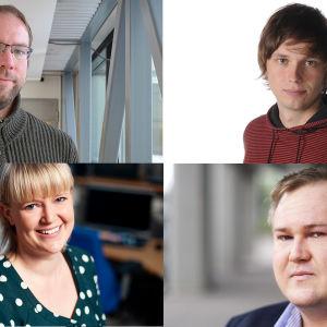 Linus Lång, Johan Gullmets, Malin Ekholm och Peter Sjöholm