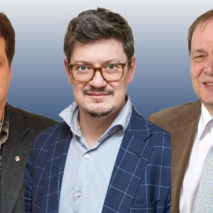 Peter Sjökvist (SDP), Rurik Ahlberg (Sfp), Ilmari Heinonen (Saml)