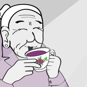 Mummo juo viiniä kahvikupista