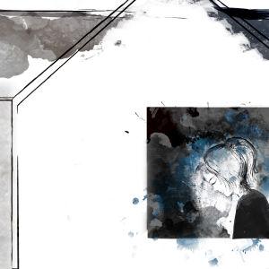naisen silhuetti talon ikkunassa, kuvitettu