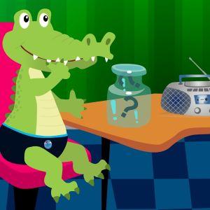 Krokodilen Krister funderar på ljudgåtan.