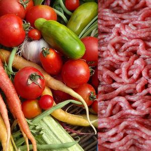 Grönsaker och rå köttfärs.