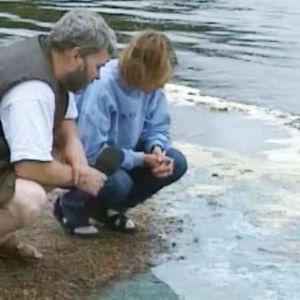 Personer tittar på vattnet.