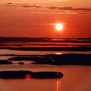 auringonlasku, maisema