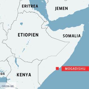 Karta över östra Afrika med Somalia, jemen, Etiopien, Kenya, Eritrea, Uganda, Sydsudan, Sudan och Kongo-Kinshasa.