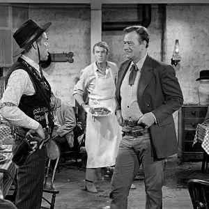 Lee Marvin, James Stewart ja John Wayne elokuvassa Mies joka ampui Liberty Valancen