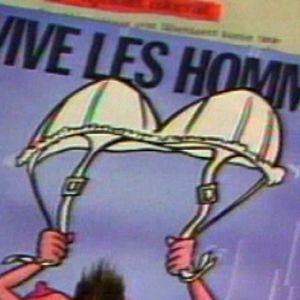 """Vive les Hommes"""" - """"Eläköön miehet"""" -kortti. Ns. Kikkelikortti."""