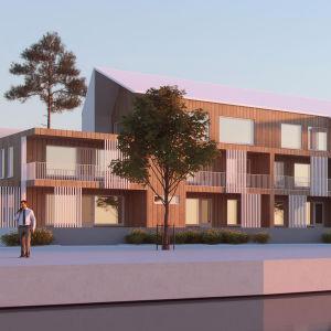 En skiss över en byggnad med träfasad byggt vid ett strandområde.