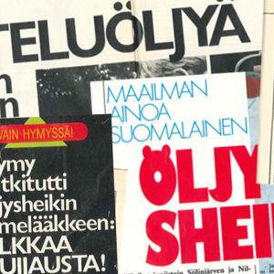 """Otsikoita """"Nilsiän öljysheikistä"""" Tauno Kuosmasesta Hymy-lehdessä 1987."""