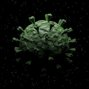 Illustration av ett virus.