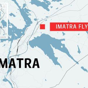 Karta över Imatra med flygfältet utmärkt.