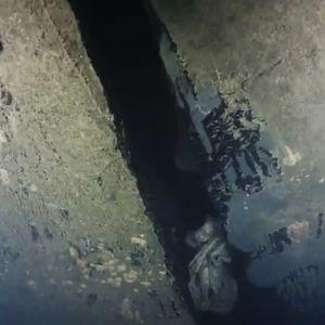 Hål i Estonias skrov på video som spelats in med hjälp av en undervattensrobot.