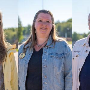 Tre personer i Raseborg som ställer upp i kommunalvalet 2021: Cynthia Moed-Ring, Pia Nygård och Börje Mattsson.