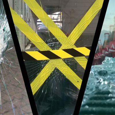 Ett collage av sönderslagna glasdörrar, fönster busshållplatser