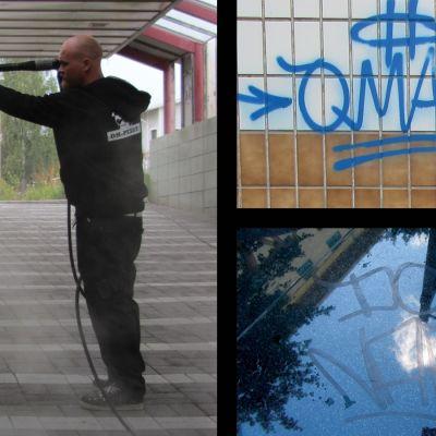 Dennis Himmelroos, tvättföretagare Kyrkslätt, bilder av klotter