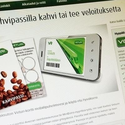VR:n kanta-asiakasohjelman mobiilipassin mainos