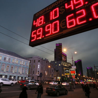Rysk rubel faller