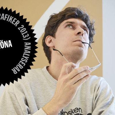 Logo för Kasper Strömmans analys av De Grönas webbsida inför riksdagsvalet 2015.