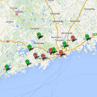 Skärmdump av en google-karta