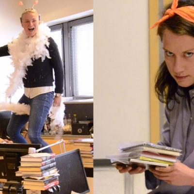 Louise Lindberg och Elsa Kemppainen har gung på redaktionen.