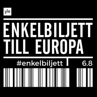 Svart botten med texten Enkelbiljett till Europa #enkelbiljett 6.8 i vitt.