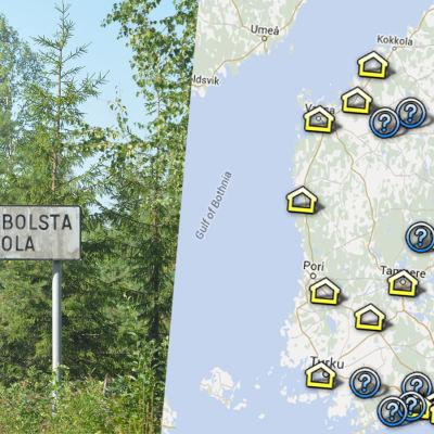 Karta över flyktingförläggningar