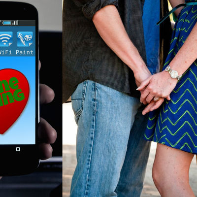 En telefon med en dejtingapp och ett par som kramas.