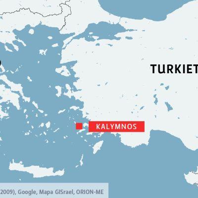 Kalymnos mellan Grekland och Turkiet.