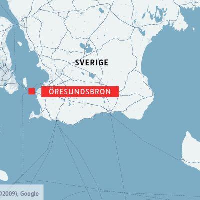 Karta som visa Öresundsbron