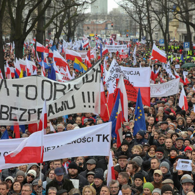 Demonstrationer för demokrati i Polen i januari 2016