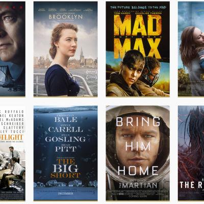 Parhaan elokuvan Oscar-ehdokkaat 2016 julisteina