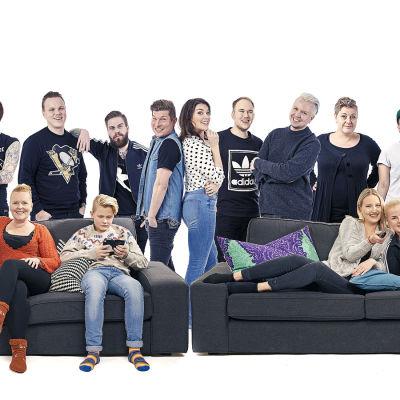 Sohvaperunat-sarjan toisen tuotantokauden päähenkilöt kollaasikuvassa.